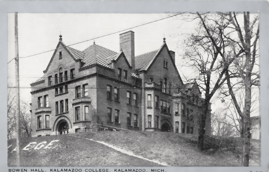 Black and white photo postcard of Bowen Hall, a brick classroom building.