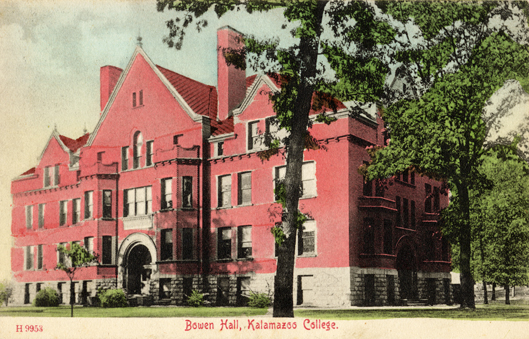 Hand tinted postcard image of Bowen Hall, a red brick classroom building.