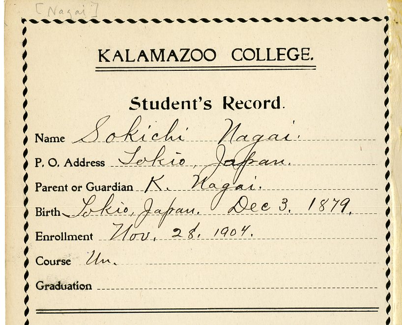 Student record card for Sokicki Nagai giving his address, parent's name, date and place of birth, and date of enrollment.