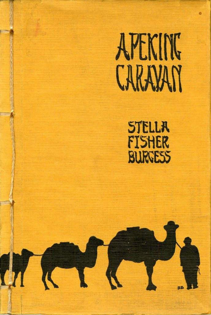 Orange book cover showing a caravan of three camels led by a man in black relief.
